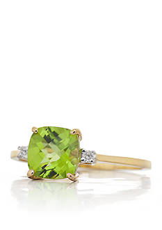 Belk & Co. Peridot and Diamond Ring in14k Yellow Gold