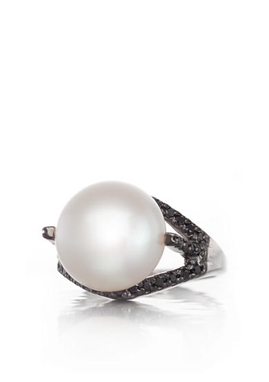 Belk & Co. Sterling Silver Freshwater Pearl and Black Diamond Ring