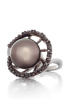 Belk & Co. Sterling Silver Tahitian Pearl and Black Diamond Swirl Ring