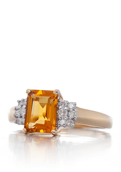 Belk & Co. Citrine and Diamond Ring in 14k Yellow Gold