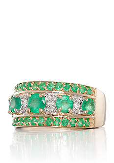 Belk & Co. 14k Yellow Gold Emerald and Diamond Band