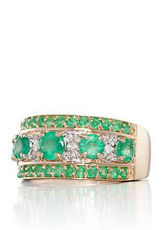 Belk & Co. 14k Yellow Gold Emerald and Diamond Band