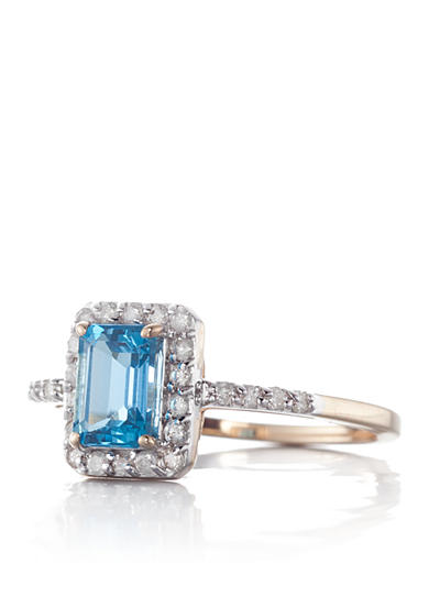 Belk & Co. 14k Yellow Gold Blue Topaz and Diamond Ring