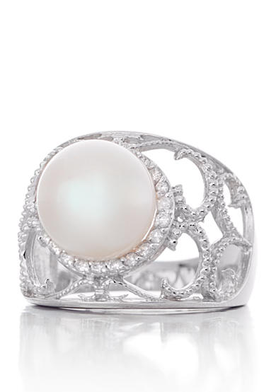 Belk & Co. 10-mm. Freshwater Pearl and Diamond Ring in 14k White Gold