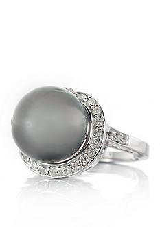 Belk & Co. 14k White Gold Tahitian Black Pearl and Diamond Ring