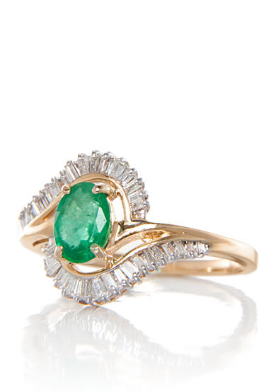 Belk & Co. Emerald and Diamond Ring in 14k Yellow Gold