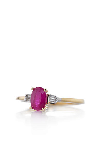 Belk & Co. 14k Yellow Gold Ruby and Diamond Ring