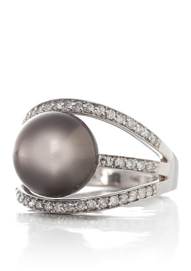 Belk & Co. 14k White Gold Tahitian Black Pearl and Diamond Ring