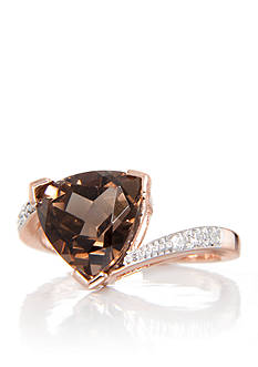 Belk & Co. Smoky Quartz and Diamond Ring in 14k Rose Gold