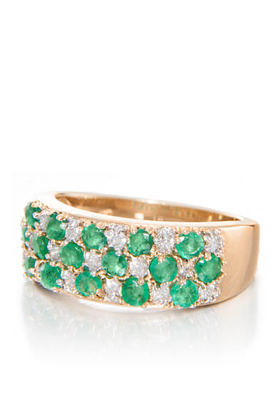 Belk & Co. Emerald and Diamond Band Ring in 14k Yellow Gold