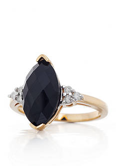 Belk & Co. Onyx and Diamond Ring in 14k Yellow Gold