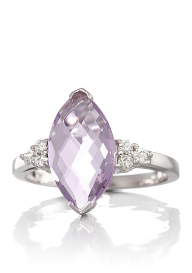 Belk & Co. 14k White Gold Pink Amethyst and Diamond Ring