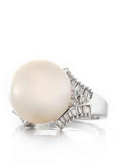 Belk & Co. 14k White Gold Cultured White South Sea Pearl and Diamond Ring