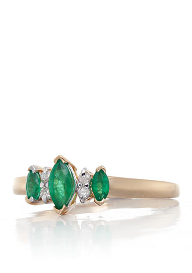 Belk & Co. 14k Yellow Gold 3 Stone Emerald and Diamond Ring
