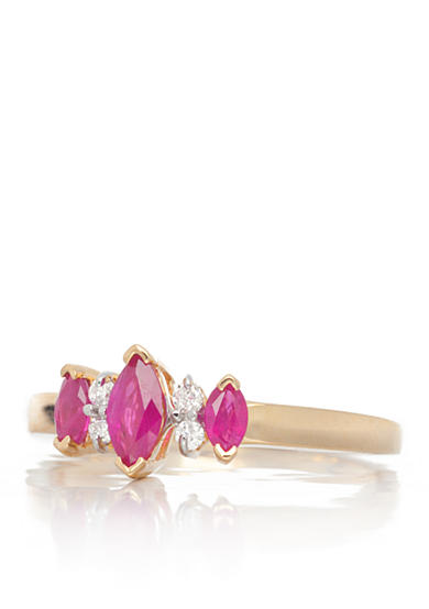 Belk & Co. 14k Yellow Gold 3 Stone Ruby and Diamond Ring