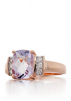 Belk & Co. Pink Amethyst and Diamond Ring in 14k Rose Gold