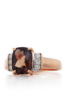 Belk & Co. Smokey Quartz and Diamond Ring in 14k Rose Gold