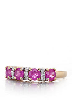 Belk & Co. Ruby and Diamond Band in 14k Yellow Gold