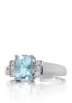 Belk & Co. Cushion Cut Aquamarine Gemstone & Diamonds Ring set in 14K White Gold