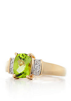 Belk & Co. Peridot and Diamond Ring in 14k Yellow Gold