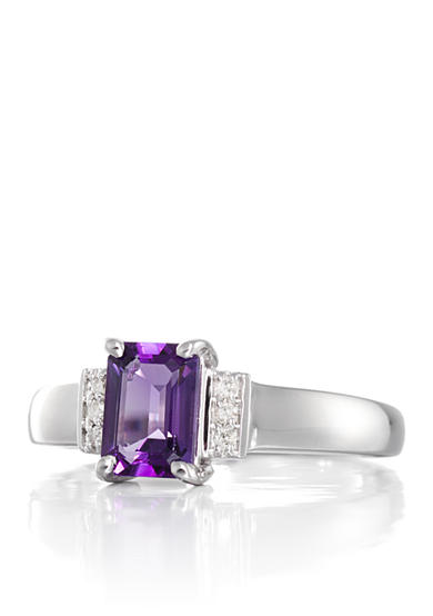Belk & Co. Amethyst and Diamond Accent Ring in 14k White Gold