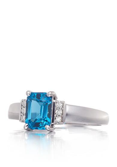 Belk & Co. London Blue Topaz and Diamond Accent Ring in 14k White Gold