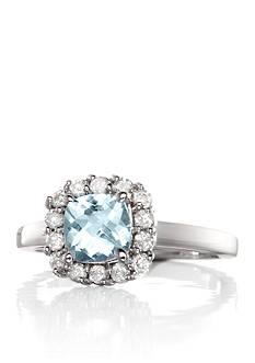 Belk & Co. Aquamarine Cushion Cut with Halo Diamond Ring set in 14K White Gold