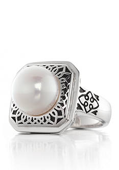 Belk & Co. White Freshwater Pearl Ring in Sterling Silver with Black Enamel