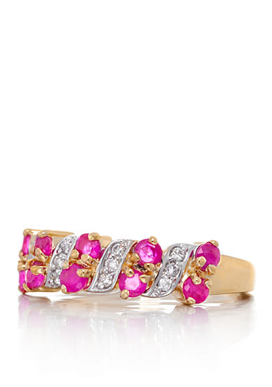 Belk & Co. Round Ruby and Diamonds Ring Set in 14K Yellow Gold