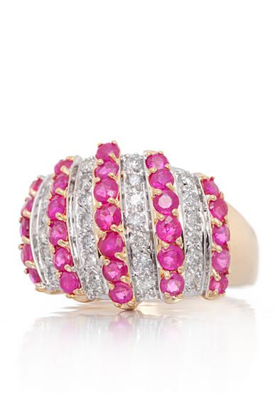Belk & Co. Ruby and Diamond Ring in 14k Yellow Gold