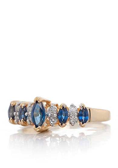 Belk & Co. Sapphire and Diamond Ring in 14k Yellow Gold