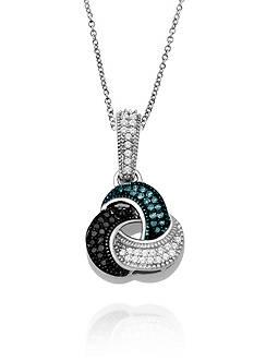 Belk & Co. 1/5 ct. t.w. Diamond Love Knot Necklace in Sterling Silver