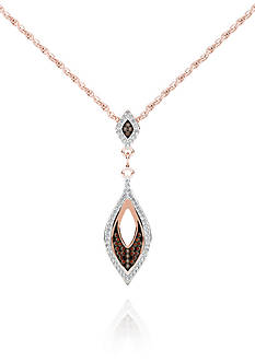 Belk & Co. 1/5 ct. t.w. Cognac Diamond Necklace in 10k Rose Gold