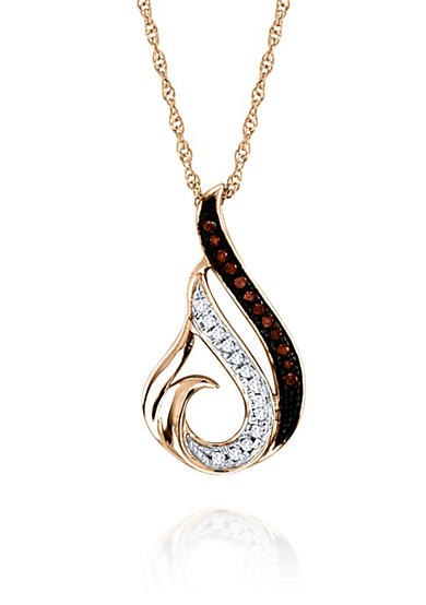 Belk & Co. 1/20 ct. t.w. Cognac Diamond Necklace in 10k Rose Gold