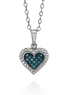 Belk & Co. 1/6 ct. t.w. Blue and White Diamond Heart Necklace in 10k White Gold