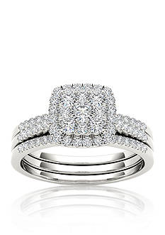 Belk & Co. 1/2 ct. t.w. Diamond Engagement Double Band Ring Set in 10k White Gold