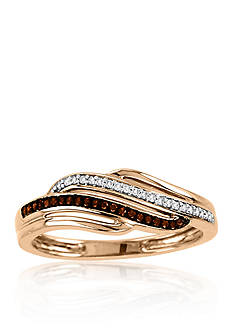 Belk & Co. 1/10 ct. t.w. Cognac and White Diamond Ring in 10k Rose Gold