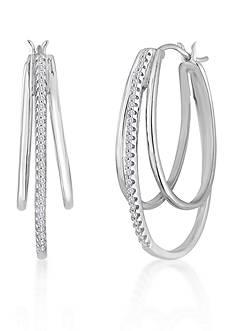 Belk & Co. Diamond Triple Hoop Earring in Sterling Silver