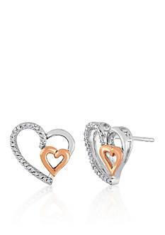Belk & Co. Diamond Double Heart Earrings in Sterling Silver with 10k Rose Gold
