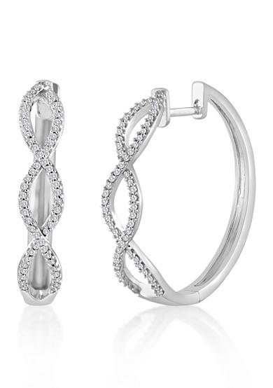 Belk & Co. Diamond Twist Hoop Earrings in Sterling Silver