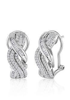 Belk & Co. Diamond Twist J Hoop Earrings in Sterling Silver