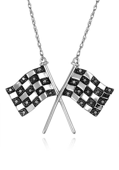 Belk & Co. Diamond Race Flag Pendant in Sterling Silver<br>