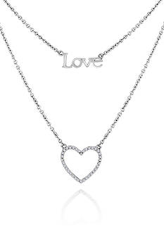Belk & Co. Diamond Heart and Love Necklace in Sterling Silver