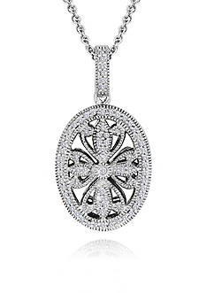 Belk & Co. Diamond Oval Pendant in Sterling Silver