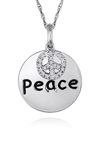 Belk & Co. Diamond Peace Disc Pendant in Sterling Silver