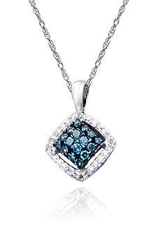Belk & Co. Blue & White Diamond Pendant in Sterling Silver