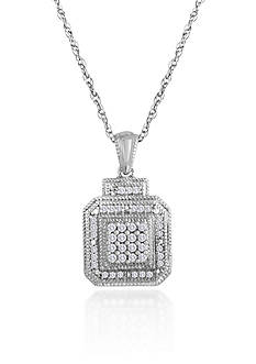 Belk & Co. Diamond Square Pendant in Sterling Silver
