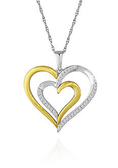 Belk & Co. Diamond Double Heart Pendant in Two-Tone Sterling Silver and 10k Yellow Gold