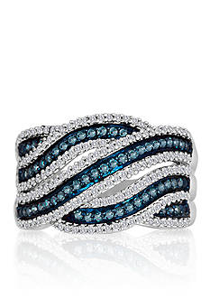 Belk & Co. Blue and White Diamond Ring in Sterling Silver