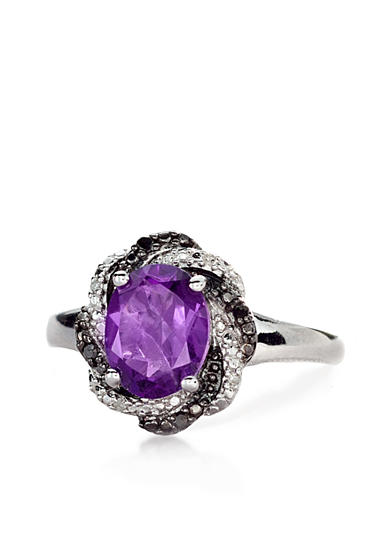 Belk & Co. Sterling Silver Amethyst and Diamond Ring